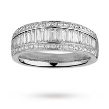 Brilliant and baguette cut 0.97 total carat weight diamond set eternity ring set in 18 carat white gold