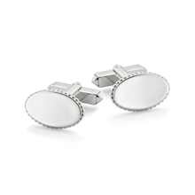 For Him - Plain Oval Sterling Silver Cufflinks