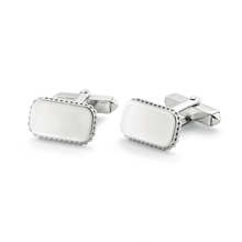 For Him - Plain Rectangle Sterling Silver Cufflinks