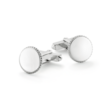 For Him - Plain Round Sterling Silver Cufflinks