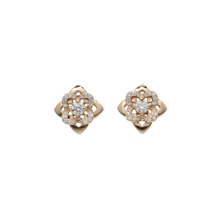 For Her - Floresco Rose Gold and Diamond Stud Earrings