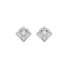 For Her - Floresco White Gold and Diamond Stud Earrings